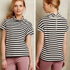 Anthropologie Postmark Striped mock neck top